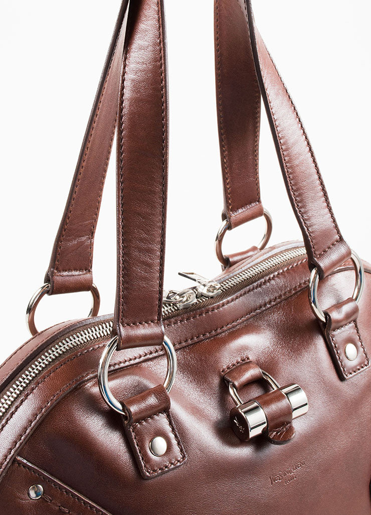 "Yves Saint Laurent Brown Silver Tone Leather ""Muse"" Zip Dome Satchel Bag Detail"