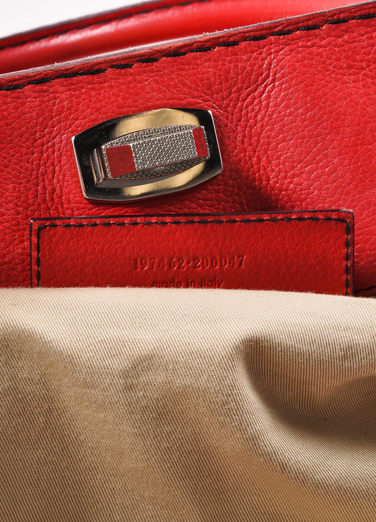 Balenciaga Red and Silver Toned Turnlock Clasp Grained Leather Shoulder Bag Serial