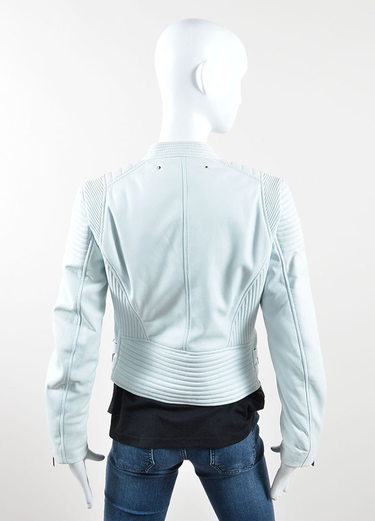 Barbara Bui Mint Green Blue Quilted Leather Zip Moto Jacket Backview