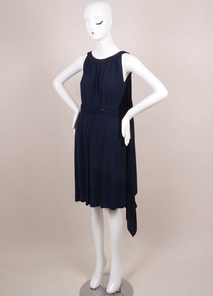 Chanel Navy and Black Sleeveless Cape Dress Sideview