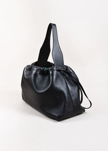 "Celine Black Leather ""Foulard Drawstring Bag"" Sideview"