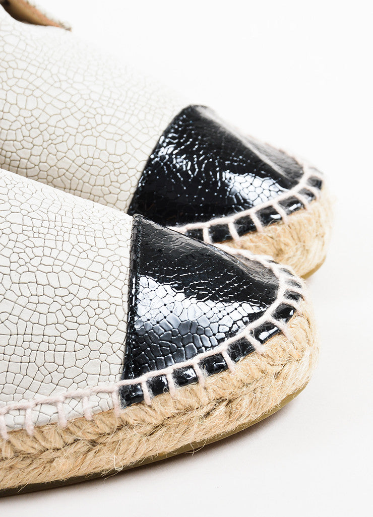 Chanel Cream and Black Crackled Patent Leather Cap Toe High Top Espadrilles Detail