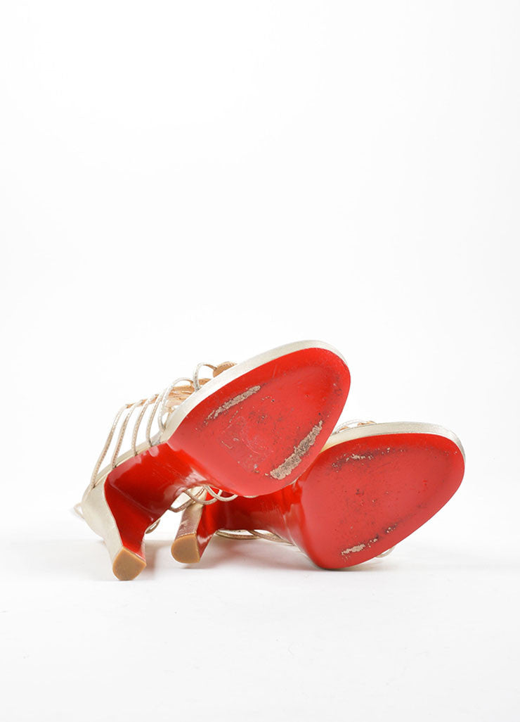 Christian Louobutin Gold Leather Lace Up Sandals Outsoles