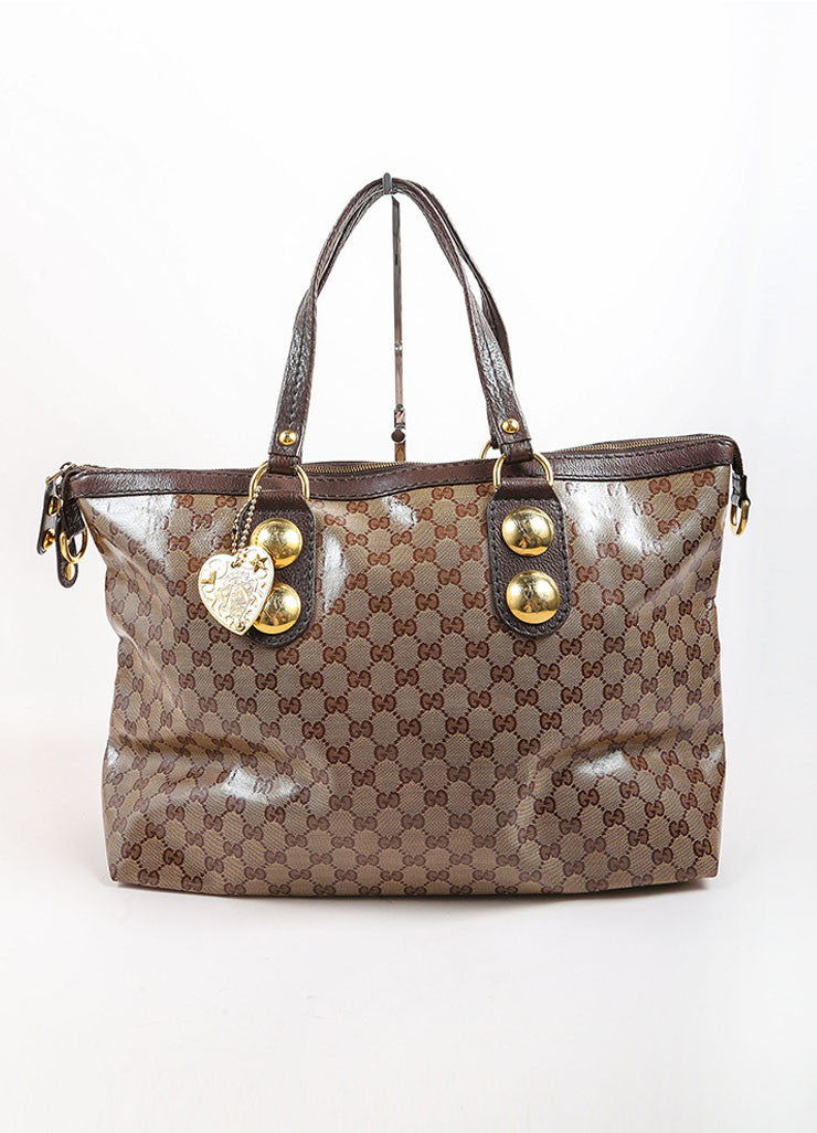 Gucci Brown and Gold Toned Monogram Canvas and Leather Oversized Stud Tote Bag Frontview