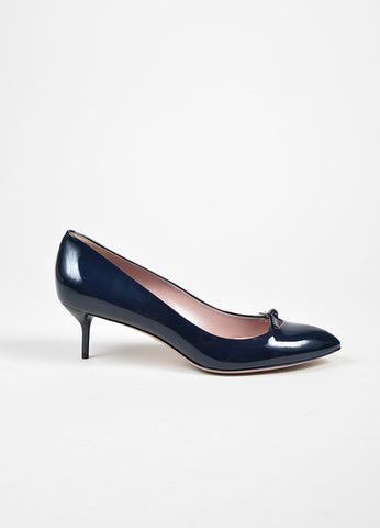 "Navy Blue Gucci Patent Leather ""Beverly"" Bow Mid Heel Pumps Side"