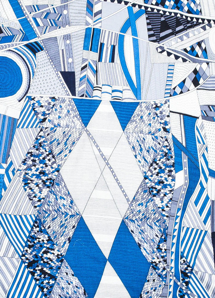 "Blue and Cream Hermes Cashmere and Silk Geometric Line Design ""Patchwork Horse"" Scarf Detail"