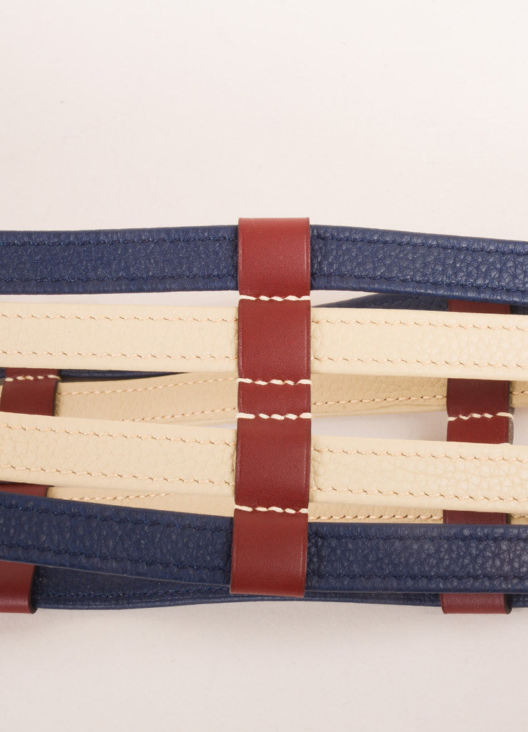 Hermes Maroon, Navy, and Beige Leather Color Block Multi Strap Wide Double Buckle Belt Detail 2