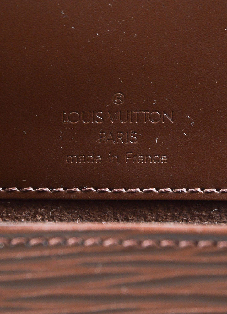 "Louis Vuitton Brown Epi Leather Flap ""Nocturne PM"" Shoulder Clutch Bag Brand"