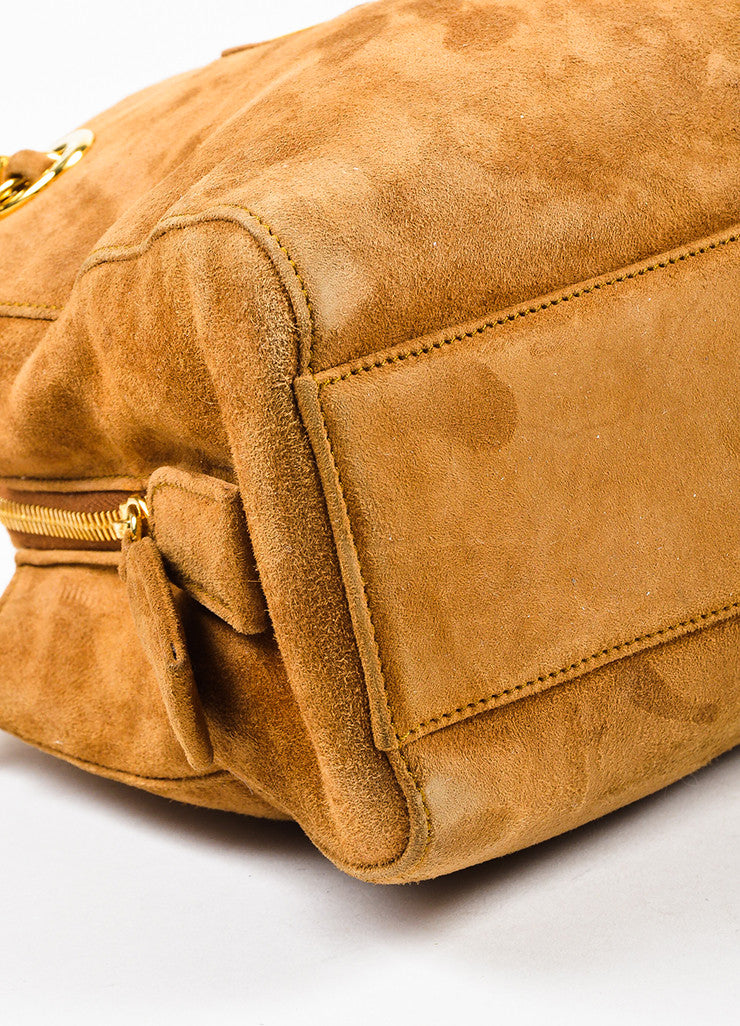 Prada Camel Tan Suede Chain Strap Shoulder Bag Detail