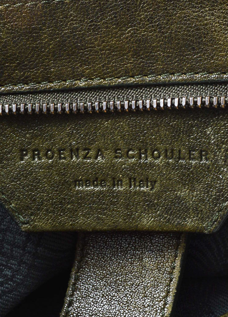 Olive Green Proenza Schouler Distressed Leather PS1 Satchel Bag Brand