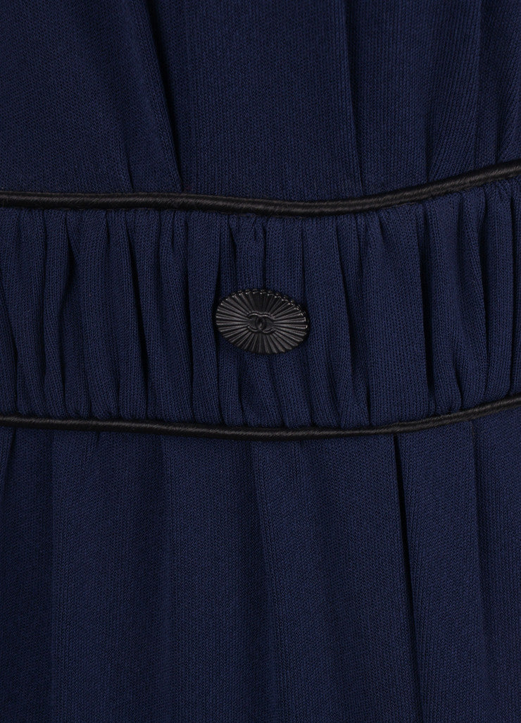 Chanel Navy and Black Sleeveless Cape Dress Detail