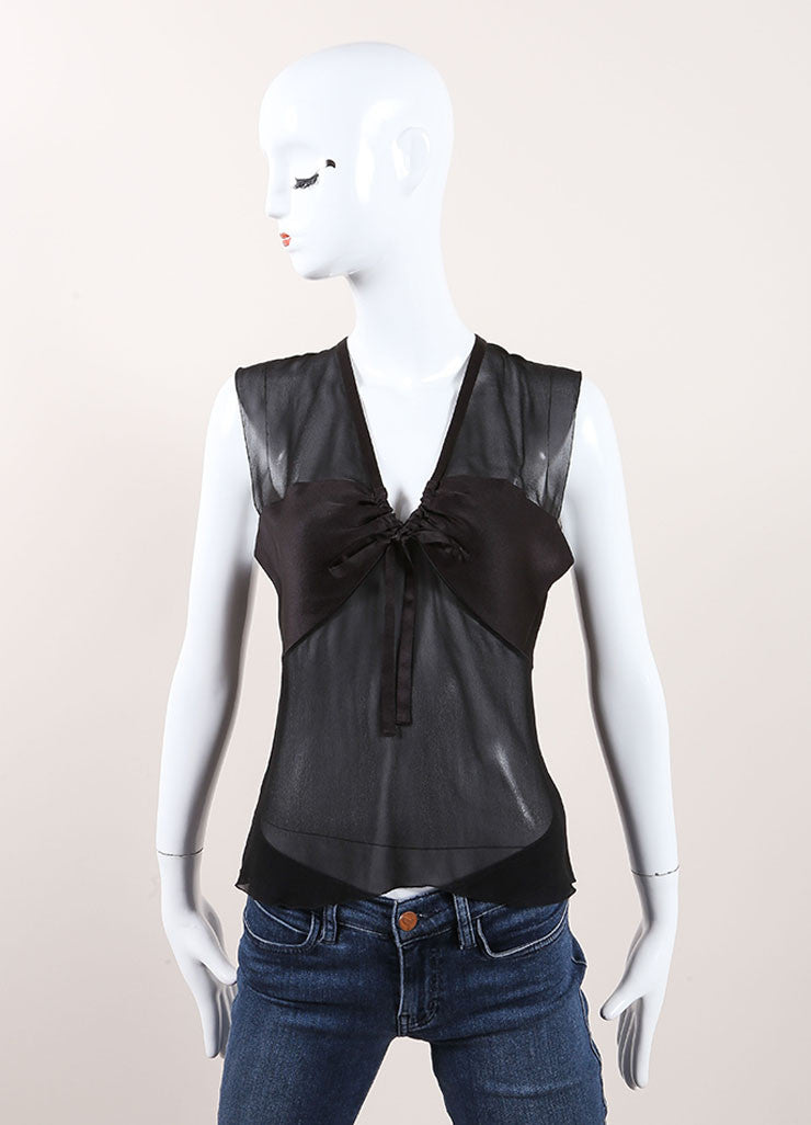 Chanel Black Silk Sleeveless Open Back Top Frontview