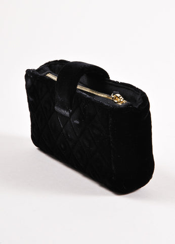 Chanel Black Quilted Velvet Evening Clutch Bag Sideview