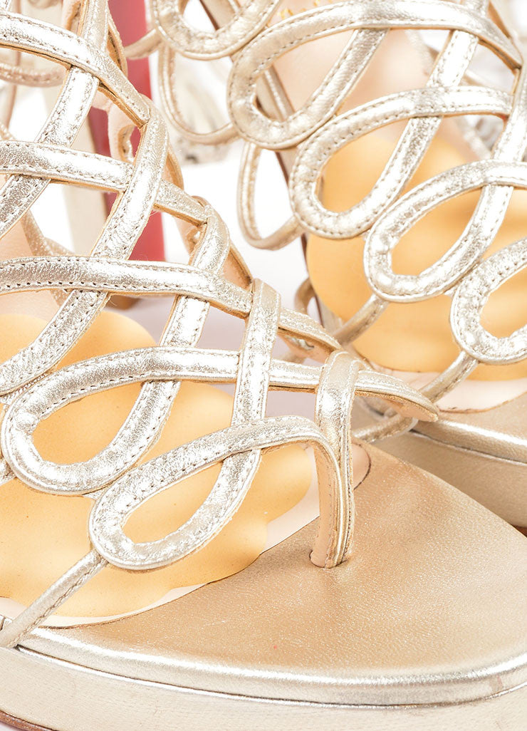 Christian Louboutin Gold Leather Lace Up Sandals Detail