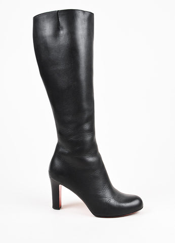 Christian Louboutin Black Leather Tall Heeled Boots Sideview