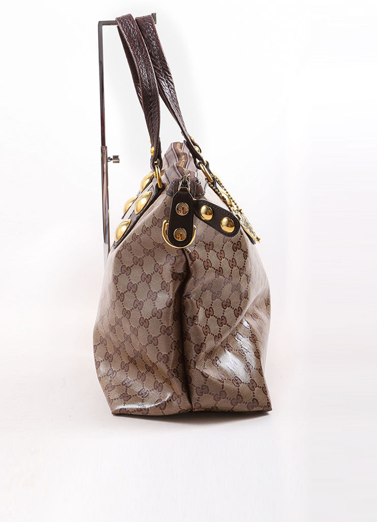 Gucci Brown and Gold Toned Monogram Canvas and Leather Oversized Stud Tote Bag Sideview