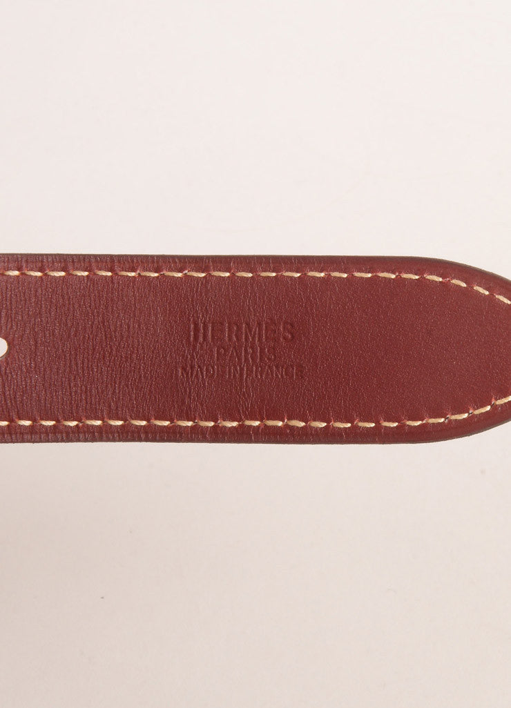 Hermes Maroon, Navy, and Beige Leather Color Block Multi Strap Wide Double Buckle Belt Brand