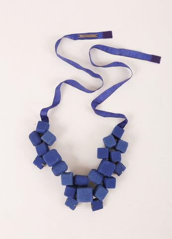 Piazza Sempione Cobalt Blue Fabric Cube and Gem Cluster Ribbon Statement Necklace Frontview