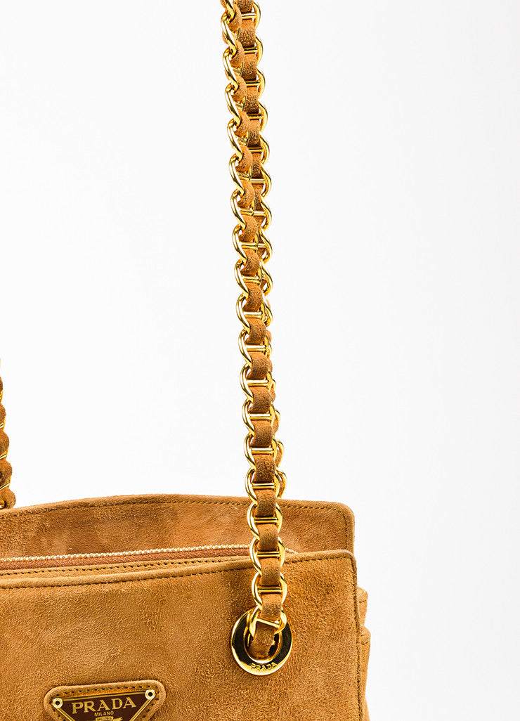 Prada Camel Tan Suede Chain Strap Shoulder Bag Detail 2
