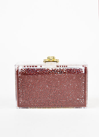 "Ashlyn'd Clear, Maroon, and Gold Toned Lucite Beaded ""Frosty"" Clutch Bag frontview"