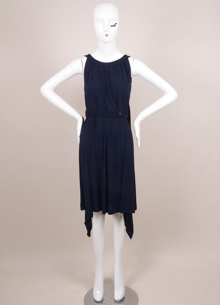Chanel Navy and Black Sleeveless Cape Dress Frontview