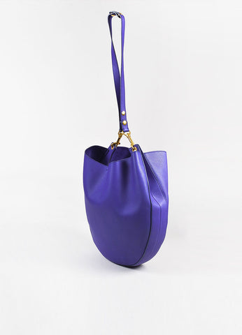 "Celine Cobalt Vermillion Leather ""Trotteur"" Hobo Bag Sideview"