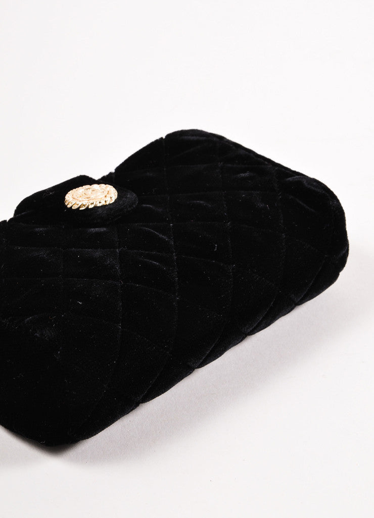 Chanel Black Quilted Velvet Evening Clutch Bag Bottom View