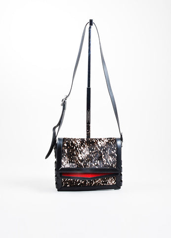 "Black Christian Louboutin Leather and Pony Hair ""Farida"" Shoulder Bag Frontview"