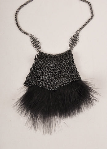 Falconiere New In Box Gunmetal Grey and Black Metal Mesh Feather Powder Puff Necklace Detail