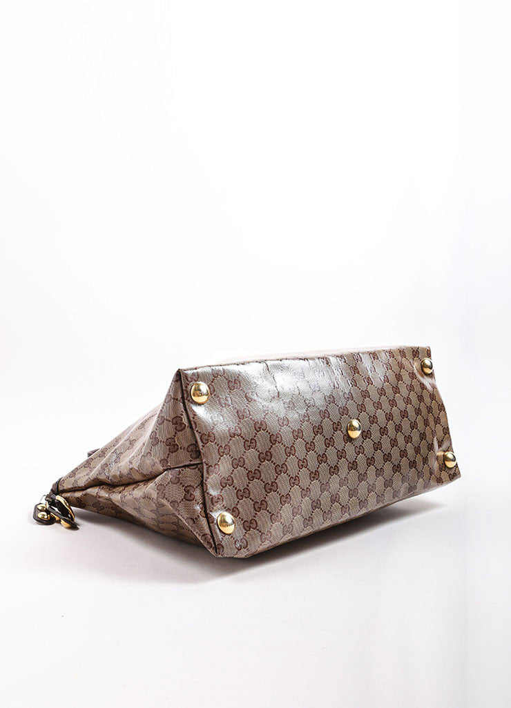 Gucci Brown and Gold Toned Monogram Canvas and Leather Oversized Stud Tote Bag Bottom View