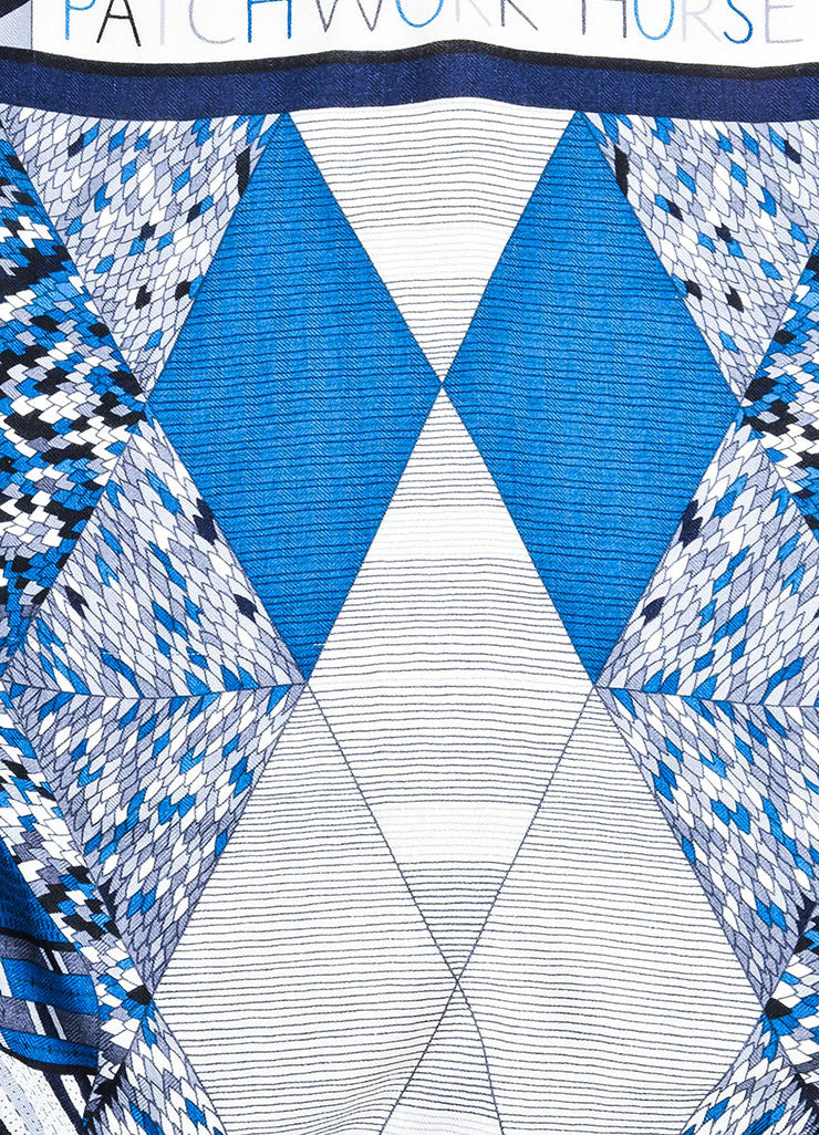 "Blue and Cream Hermes Cashmere and Silk Geometric Line Design ""Patchwork Horse"" Scarf Detail 3"