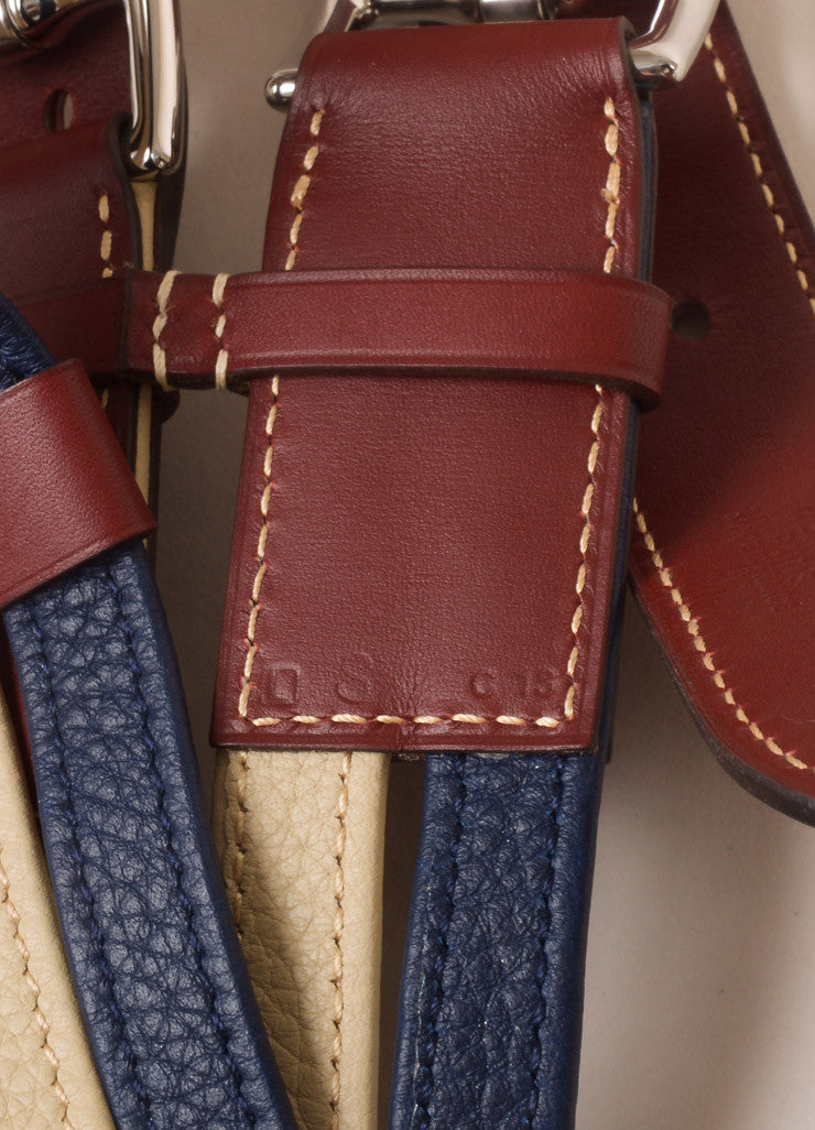 Hermes Maroon, Navy, and Beige Leather Color Block Multi Strap Wide Double Buckle Belt Detail 3