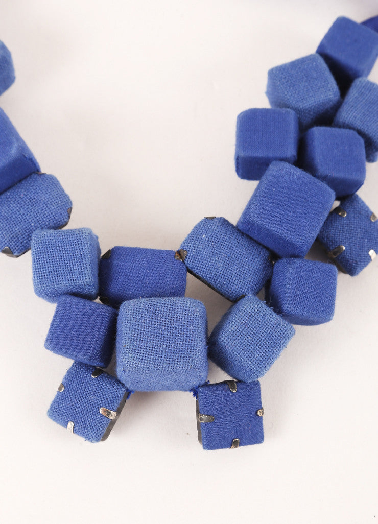 Piazza Sempione Cobalt Blue Fabric Cube and Gem Cluster Ribbon Statement Necklace Detail