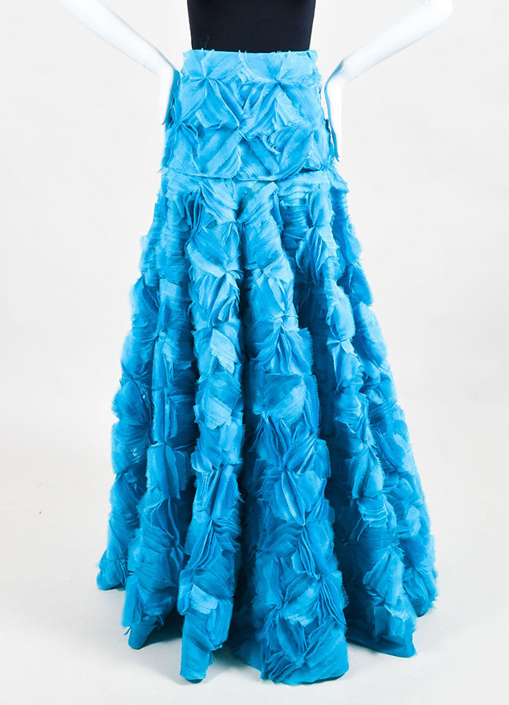 Turquoise Blue Roksanda Silk Organza Calton Embroidered Skirt Front