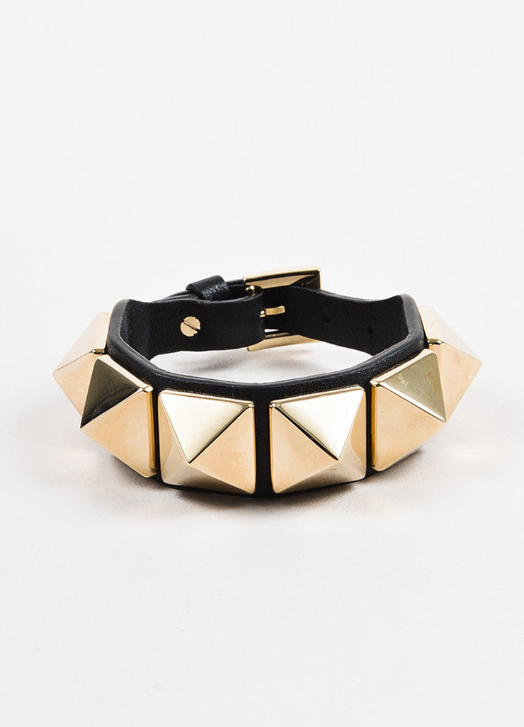 "Valentino Black and Gold Toned Leather ""Va Va Voom Rockstud"" Buckle Bracelet Frontview"