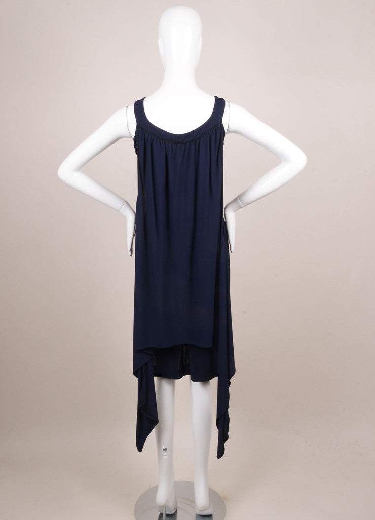 Chanel Navy and Black Sleeveless Cape Dress Backview