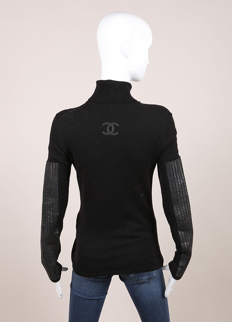 "Chanel Black Wool, Cashmere, and Leather Trim ""CC' Long Sleeve Turtleneck Sweater Backview"