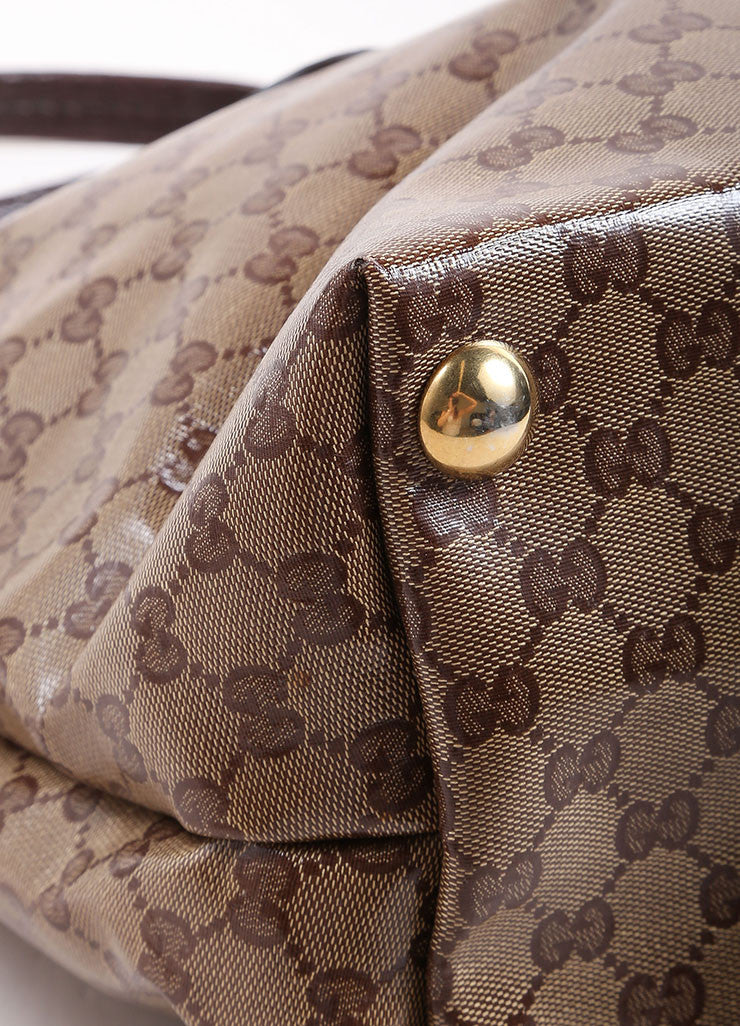 Gucci Brown and Gold Toned Monogram Canvas and Leather Oversized Stud Tote Bag Detail