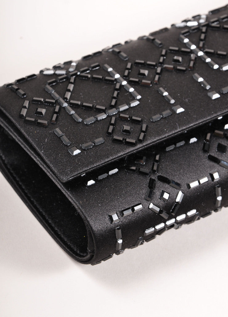 Judith Leiber New With Tags Black Satin Beaded Embellished Rectangular Flap Clutch Bag Detail