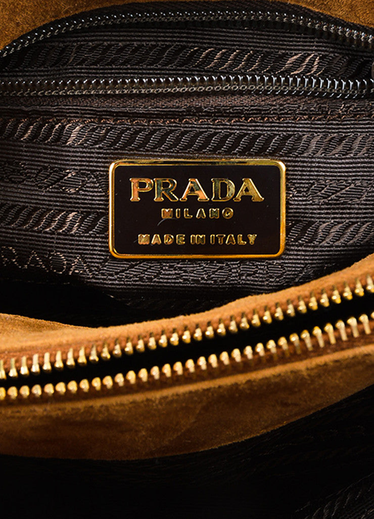 Prada Camel Tan Suede Chain Strap Shoulder Bag Brand