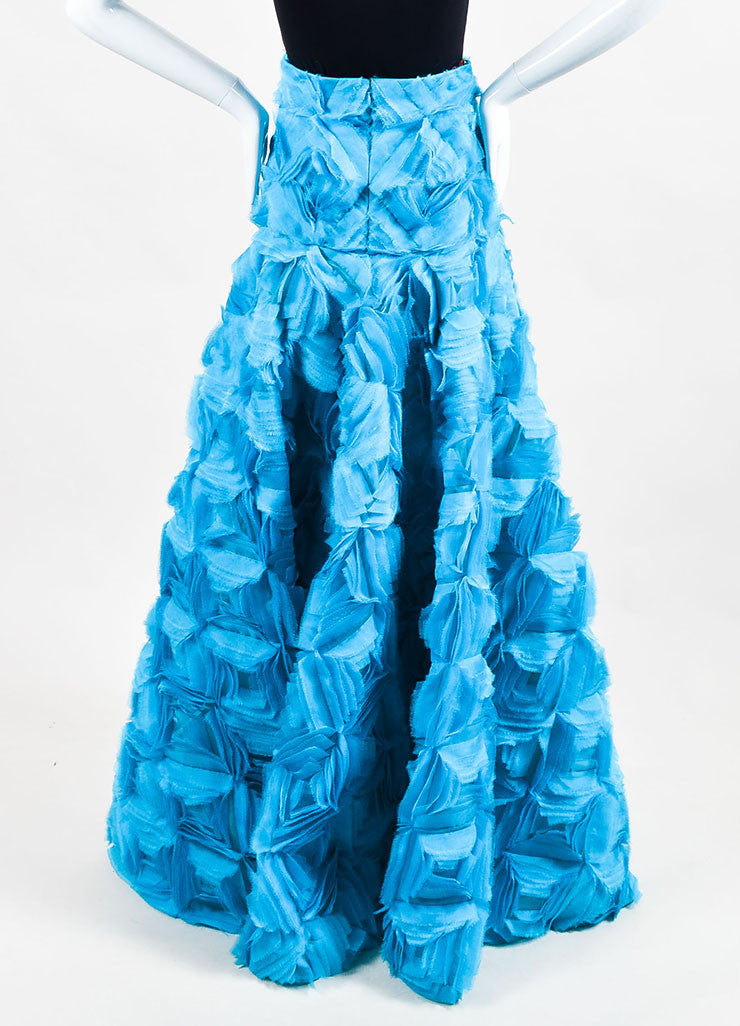 Turquoise Blue Roksanda Silk Organza Calton Embroidered Skirt Back