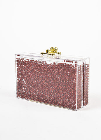 "Ashlyn'd Clear, Maroon, and Gold Toned Lucite Beaded ""Frosty"" Clutch Bag Sideview"