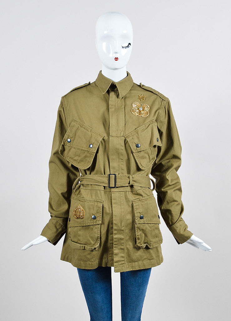 Figue Khaki Cotton Sequined Skeleton Snake Military Jacket Frontview