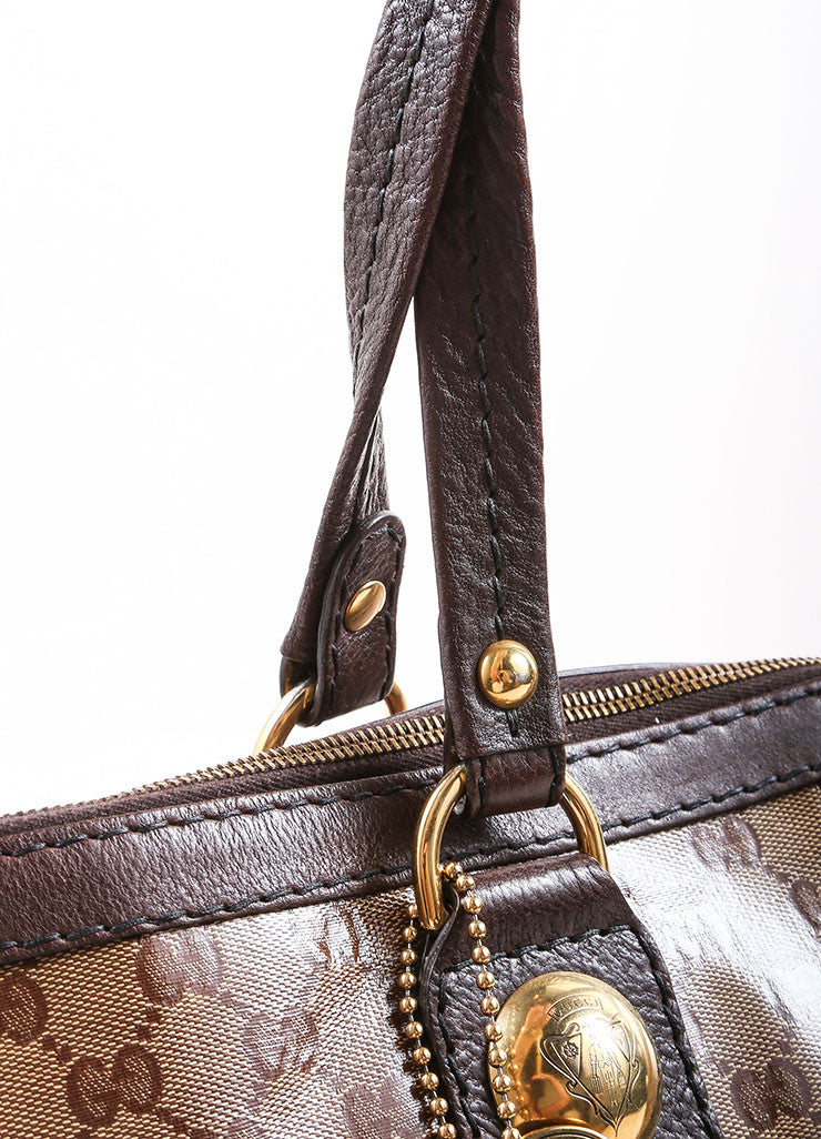 Gucci Brown and Gold Toned Monogram Canvas and Leather Oversized Stud Tote Bag Detail 2