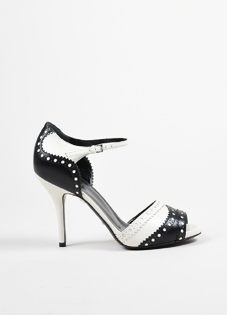 Black White Gucci Perforated Leather Scallop Ankle Strap Heels Side