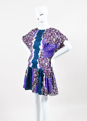 Peter Pilotto Green, Pink, and Purple Silk Multi Print Pleated Drop Waist Dress Sideview