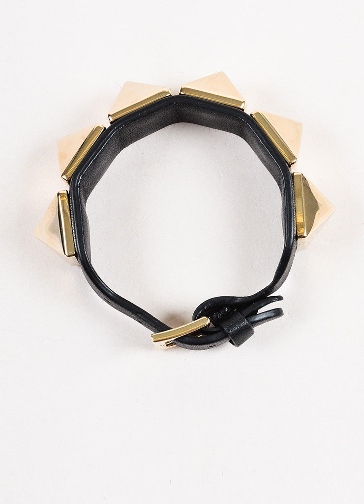 "Valentino Black and Gold Toned Leather ""Va Va Voom Rockstud"" Buckle Bracelet Topview"