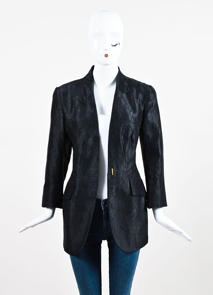 Alexander McQueen Black Silk Embroidered Bee Honeycomb Blazer Jacket Frontview