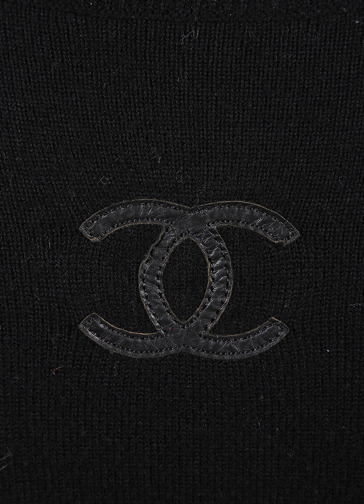 "Chanel Black Wool, Cashmere, and Leather Trim ""CC' Long Sleeve Turtleneck Sweater Detail 2"