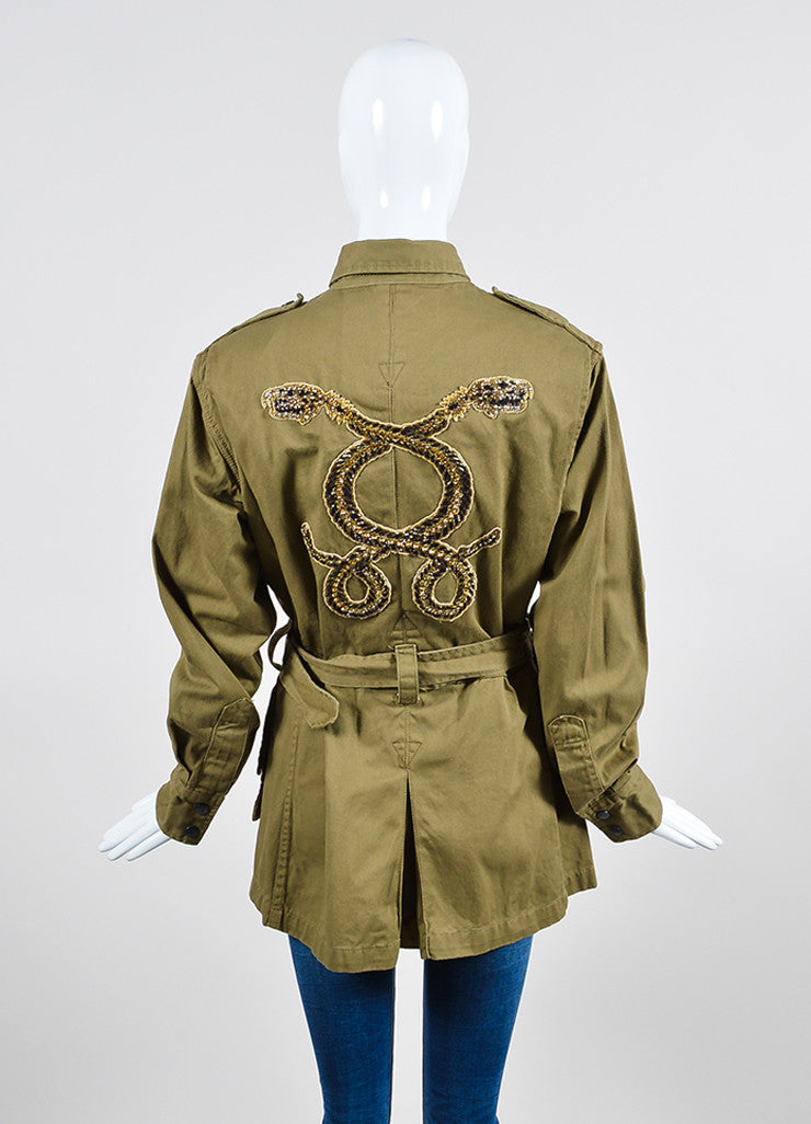 Figue Khaki Cotton Sequined Skeleton Snake Military Jacket Backview